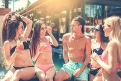 Gruppe Freunde zusammen in der Swimmingpoolfreizeit Lizenzfreie Stockfotos
