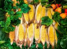 Gruppe frischer Zuckermais auf Pfeilern im Bauernhof für Verkauf im Markt benutzt als Schablone Stockbilder
