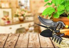 Gruppe Gartenarbeitwerkzeuge auf Hintergrund stockfotos