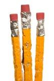Gruppe gekaute Bleistifte XXXL getrennt Lizenzfreie Stockbilder