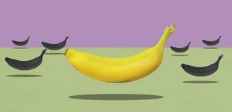 Gruppe gelbe Bananen mit einem Rot schweben frei stockbild