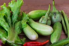 Gruppe Gemüsegurken, thailändische Auberginen, die langen beens, geflügelt ist Stockfoto