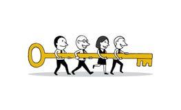 Gruppe Geschäftsleute, die vorwärts großes Schlüssel zum Erfolg halten Kreatives Teamwork-Konzept lokalisierte Illustrationsentwu vektor abbildung