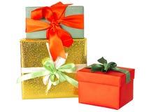 Gruppe Geschenke und Geschenkboxen lokalisiert lizenzfreies stockbild