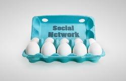 Gruppe glückliche Eier, die ein Sozialnetz darstellen Lizenzfreie Stockbilder