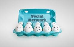 Gruppe glückliche Eier mit lächelnden Gesichtern Lizenzfreies Stockbild