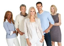 Gruppe glückliche Geschäftsleute lokalisiert auf Weiß Stockfotografie