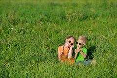 Gruppe glückliche Kinder in den Sonnenbrillen, die Spaß im Gras draußen haben Lizenzfreie Stockfotos