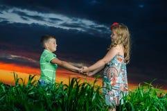 Gruppe glückliche Kinder, die auf Wiese spielen stockbild