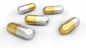 Gruppe goldene und silberne Pillen verschüttet auf Schreibtisch vektor abbildung
