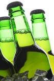 Gruppe grüne Bierflaschen Stockbild