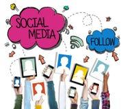 Gruppe Hände, die Digital-Geräte mit Social Media-Konzept halten Lizenzfreie Stockfotos
