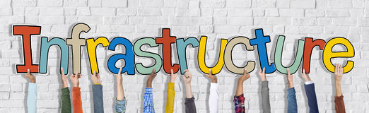 Gruppe Hände, die Wort-Infrastruktur halten lizenzfreie stockfotos