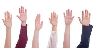 Gruppe Hände oben Stockbild
