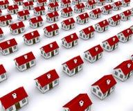Gruppe Häuser mit rotem Dach Stockfotos