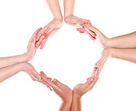 Gruppe Hände, die einen Kreis bilden Lizenzfreie Stockbilder
