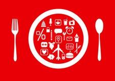Gruppe Ikonen auf roten Hintergründen, Designvisitenkarten Lizenzfreie Stockfotografie