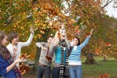 Gruppe Jugendfreunde, die Blätter im Herbst werfen Stockbild