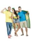 Gruppe junge attraktive Brasilien-Anhänger mit Bieren Stockfotos