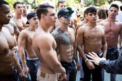 Gruppe junge Bodybuilder stockbilder