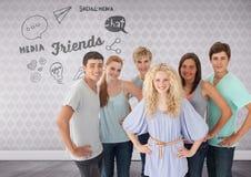 Gruppe junge Erwachsenen, die vor Freunden stehen und Social Media simst vektor abbildung
