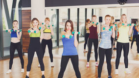 Gruppe junge Frauen im Fitness-Club Stockbilder