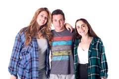Gruppe junge Freundaufstellung stockfotografie