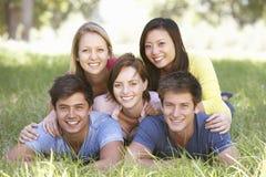 Gruppe junge Freunde, die in der Landschaft sich entspannen Stockfotografie