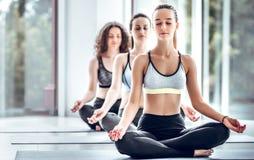 Gruppe junge Leute, die das Yoga sitzt auf Matten tun stockfotos