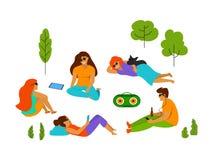 Gruppe junge Leute, die im Park kühlen, lokalisierte Vektorillustration stock abbildung