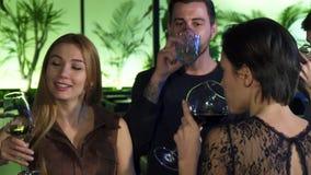 Gruppe junge Leute, die zusammen trinken an der Bar am Abend genießen stock video