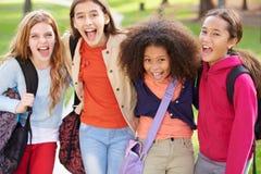 Gruppe junge Mädchen, die heraus zusammen im Park hängen Stockfotografie