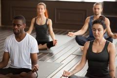 Gruppe junge sportliche Leute, die in einfachem Seat meditieren, werfen auf lizenzfreie stockfotos