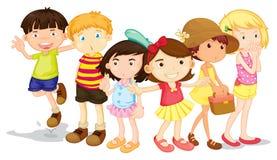 Gruppe Jungen und Mädchen lizenzfreie abbildung