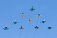 Gruppe Kampfflugzeuge Stockfotos