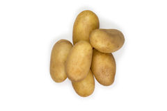 Gruppe Kartoffeln lokalisiert auf Weiß Lizenzfreies Stockfoto