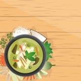Gruppe Kiew fahl, thailändischer grüner Curry in der Kokosmilch Stockfoto