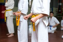 Gruppe Kinder auf einem Kampfkunsttraining stockfoto