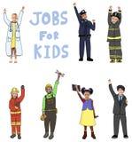 Gruppe Kinder in den Jobs für Kinderkonzept Lizenzfreie Stockfotografie