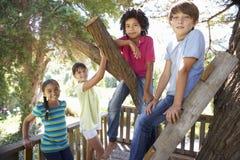 Gruppe Kinder, die heraus zusammen im Baumhaus hängen stockfoto