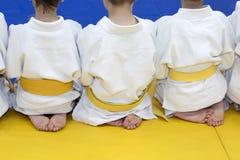 Gruppe Kinder im Kimono, der auf tatami auf Kampfkunstfortbildungsseminar sitzt Lizenzfreie Stockbilder