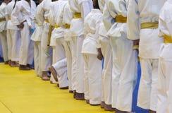Gruppe Kinder im Kimono, der auf tatami auf Kampfkunstfortbildungsseminar steht Lizenzfreies Stockbild