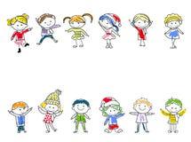 Gruppe Kinder mit unbelegtem Zeichen oder Fahne Stockfotos
