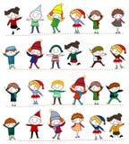 Gruppe Kinder mit unbelegtem Zeichen oder Fahne Lizenzfreies Stockbild