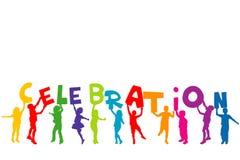 Gruppe Kinder silhouettiert das Halten von Buchstaben mit Wort CELEBRAT Lizenzfreies Stockfoto