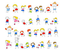 Gruppe Kinder, zeichnende Skizze Stockbild