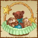 Gruppe kleine Teddybärfreunde sitzt in einem Korb lizenzfreie abbildung