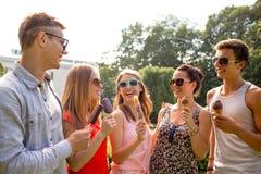 Gruppe lächelnde Freunde mit Eiscreme draußen Lizenzfreie Stockfotos