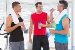 Gruppe lächelnde Männer, die sich sprechen Lizenzfreie Stockbilder