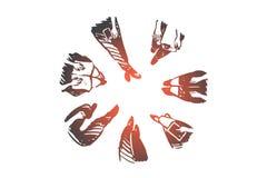 Gruppe, Leute, Versammlung, Sitzung, Diskussionskonzept Hand gezeichneter lokalisierter Vektor stock abbildung